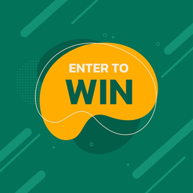 Enter to win green vector template for promotion banner vector