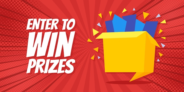 Enter to win prizes gift box banner