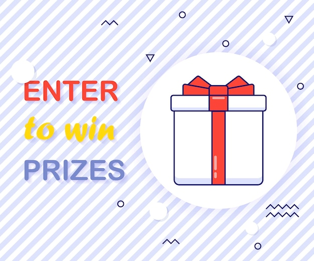 Enter to win prizes gift box. cartoon style vector illustration.