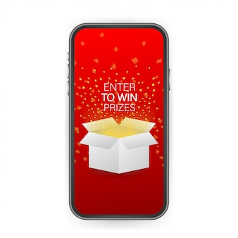 Enter to win prizes. open red gift box and confetti on smartphone screen. win prize.  stock illustration.