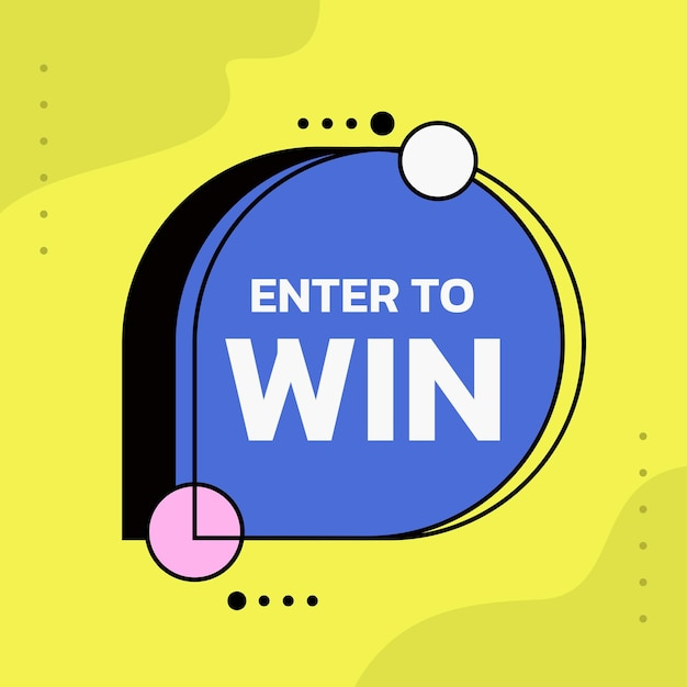 Enter to win yellow vector template for promotion banner
