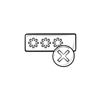 Entering login and fail hand drawn outline doodle icon. user access, security and wrong login concept
