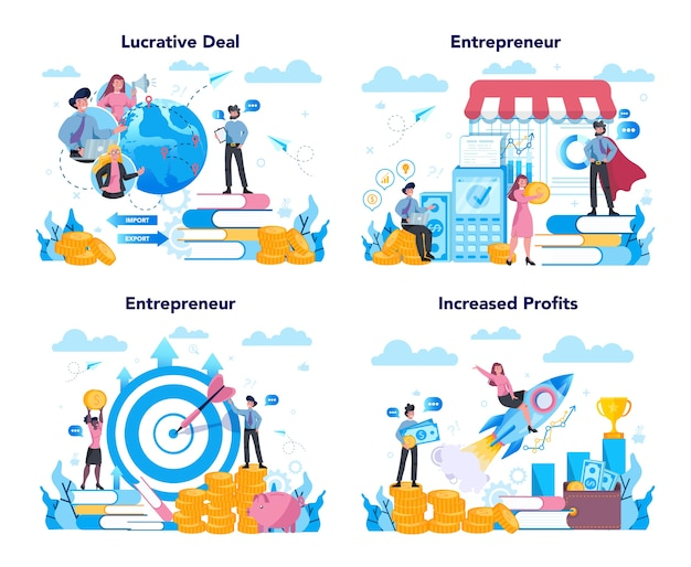 Enterpreneur concept set. idea of lucrative business, strategy