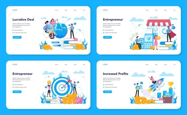 Enterpreneur 웹 배너 또는 방문 페이지 세트. 유리한 사업, 전략 및 성취에 대한 아이디어. 성공과 이익 증가를 목표로합니다. 평면 스타일에 고립 된 벡터 일러스트 레이 션