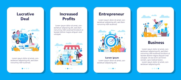 Enterpreneur 웹 배너 또는 방문 페이지 세트