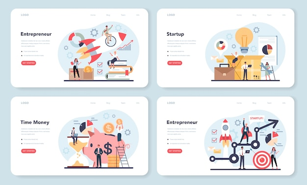 Enterpreneur 웹 템플릿 또는 방문 페이지 세트.