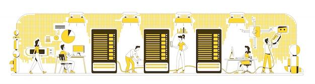 Enterprise storage system thin line concept illustration
