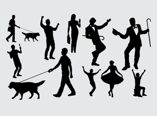 Entertainer and people activity silhouette