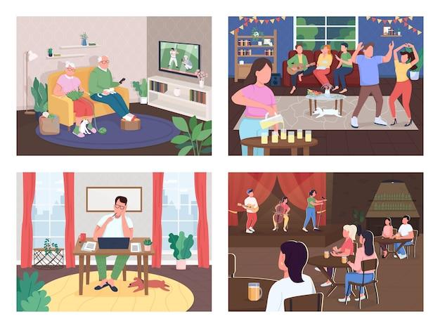 エンターテインメント活動フラットカラーベクトルイラストセット。家にいる老夫婦。ホームパーティー。フリーランスのライター。家族や友人の背景コレクションのインテリアと2d漫画のキャラクター