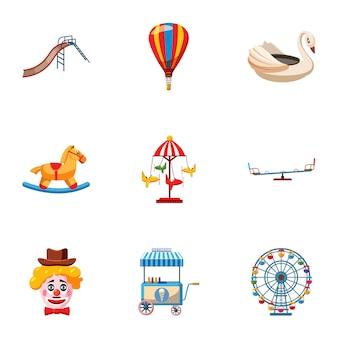 Entertainment for children icons set