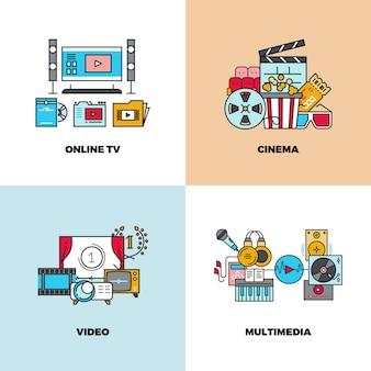 Entertainment, cinema, movie, video set