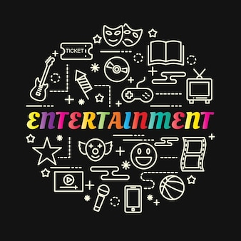 Entertainment colorful gradient with line icons set