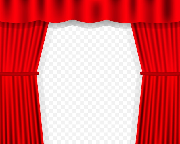 Entertainment curtains background for movies. beautiful red theatre folded curtain drapes on black stage