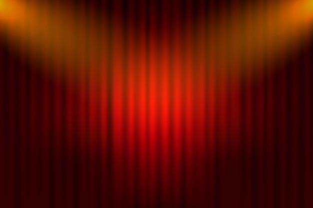 영화 용 엔터테인먼트 커튼. 검은 무대에 아름 다운 빨간 극장 접힌 커튼 커튼. 삽화.