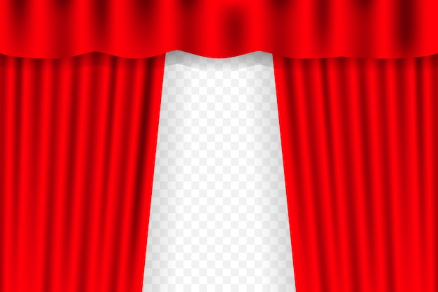 Entertainment curtains  for movies. beautiful red theatre folded curtain drapes on black stage.  illustration.
