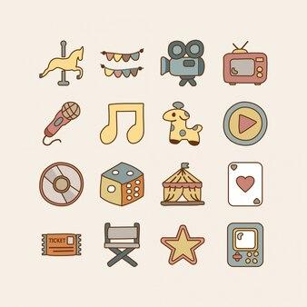Entertainment doodle icon set
