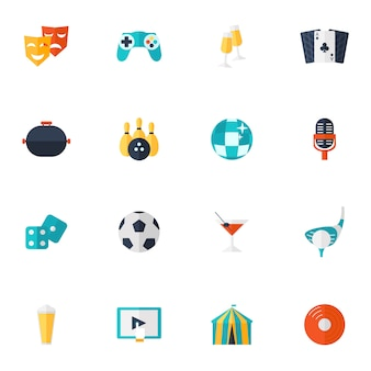 Entertainment icons flat set