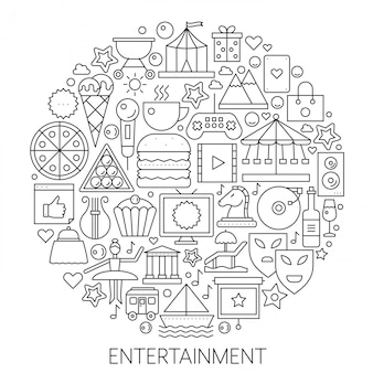 Entertainment infographics line emblem