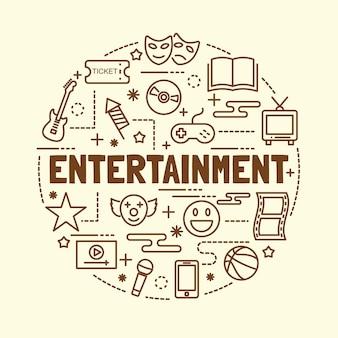 Entertainment minimal thin line icons set