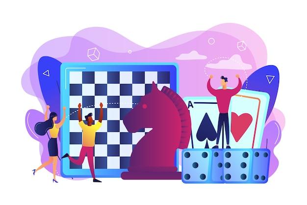 チェス、ゲームカード、サイコロをプレイして勝つ小さな人々のエンターテインメント。ボードゲーム、余暇活動、家族全員の活動の概念。