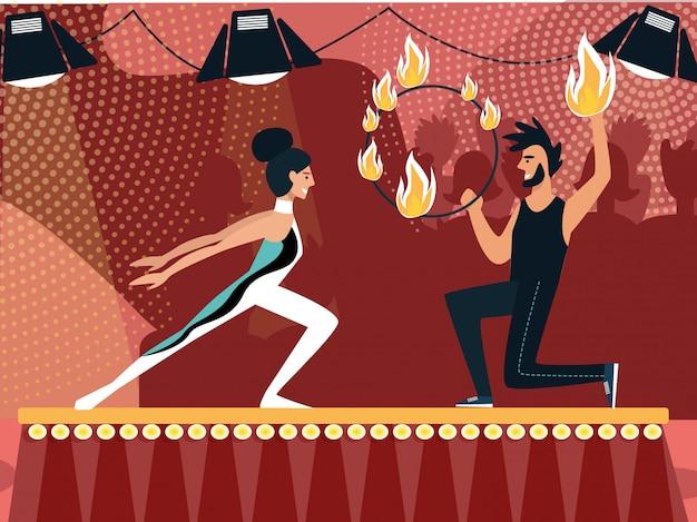 Развлечения на сцене гимнаст и огненный жонглер