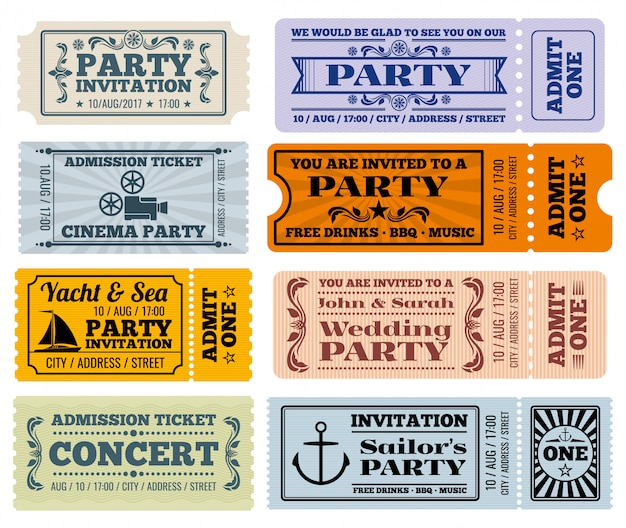 Entertainment, party and cinema vintage tickets coupons templates