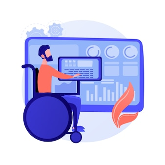 Entertainment for people with disabilities, special needs. hobbies, recreation, education. disabled man on wheelchair watching video on smartphone. vector isolated concept metaphor illustration