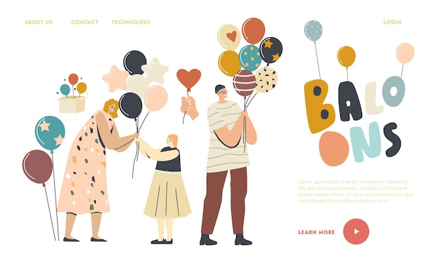 Entertainment with animator, birthday celebration landing page template. woman giving balloon to little girl, male or female adult characters holding helium balloons. linear people vector illustration