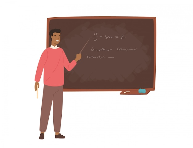 Enthusiastic african american male school teacher, college professor or lecturer standing beside chalkboard, holding pointer and explaining lesson.