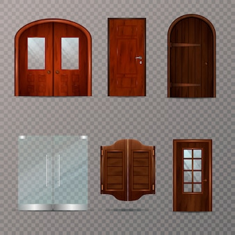 Entrance doors transparent set