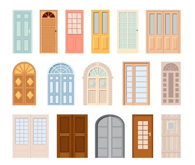 Entrance front doors isolated vector icons. cartoon interior and exterior design elements for room or office decoration. glass, metal or plastic doorways and grates with windows, closed doors set