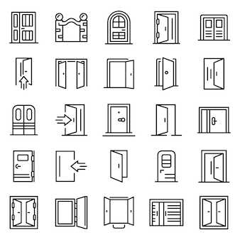 Entrance icons set, outline style