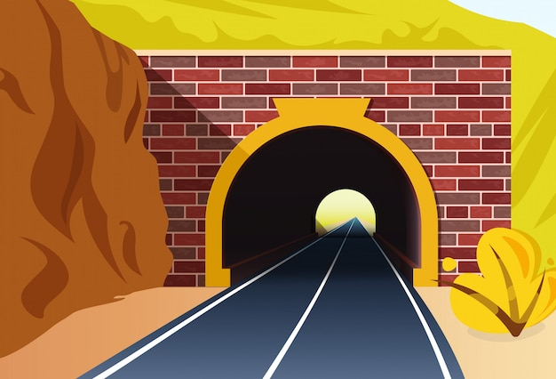 Entrance in a road tunnel.illustration in flat style