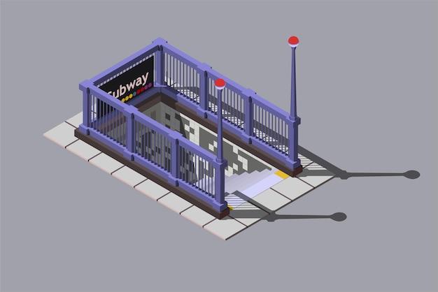 Entrance to underground metro station, isometric illustration.