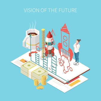 Entrepreneur and business isometric composition with future vision