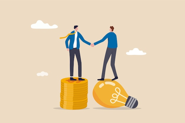 Entrepreneur businessman standing on lightbulb idea lamp shaking hands with vc on money coins stack.