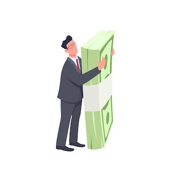 Entrepreneur holding money bundle flat concept illustration. man standing and hugging big cash pack 2d cartoon character for web design. finance and success creative idea