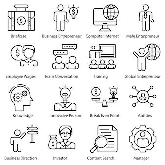 Entrepreneur icons set
