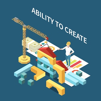 Entrepreneur isometric composition with ability to create