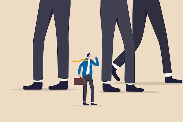 사업 경쟁에서 대기업 공포와 싸우는 기업가 또는 중소기업