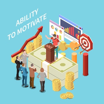 Entrepreneur people composition with ability to motivate