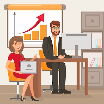 Entrepreneur and personal assistant illustration