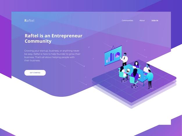 Entrepreneur website flat illustration