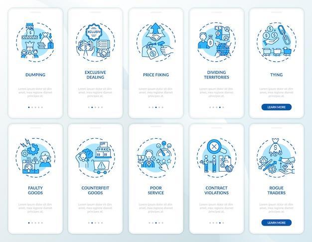 모바일 앱 페이지 화면 세트 온 보딩 기업가 관행