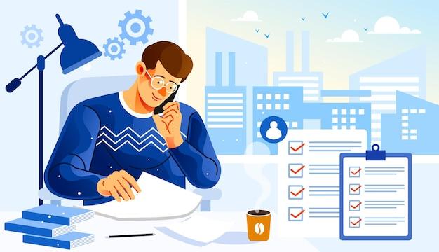 Предприниматели, проверяющие документ с данными