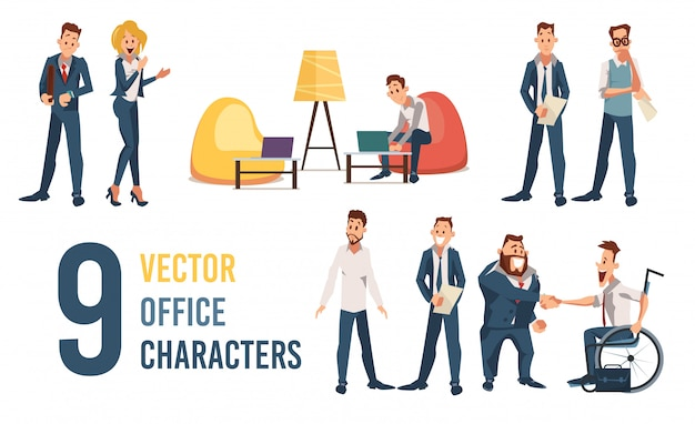 Entrepreneurs and clerks vector characters set
