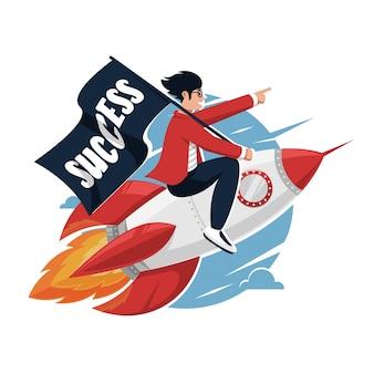 起業家はロケットを運転してビジネス戦略を改善または開発します