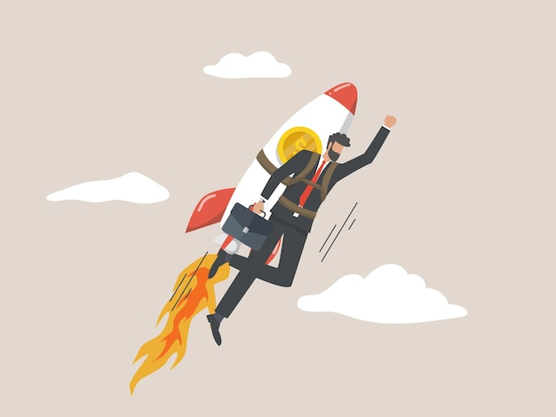Entrepreneurs fly rocket, a new business concept, startup