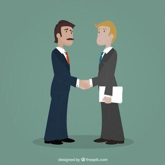 Entrepreneurs shaking hands