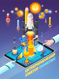 Entrepreneurship activity isometric composition